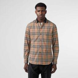 Icon Stripe Detail Vintage Check Cotton Shirt