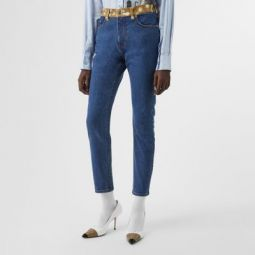 Skinny Fit Deer Print Trim Japanese Denim Jeans