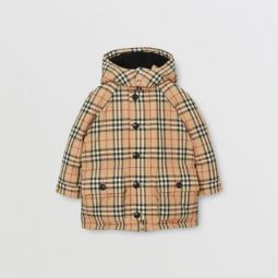 Vintage Check Down-filled Hooded Puffer Jacket
