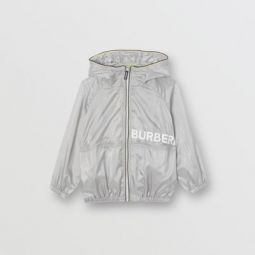Logo Print Perforated Hooded Jacket
