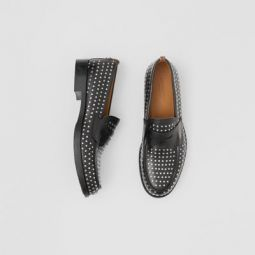 D-ring Detail Studded Leather Loafers