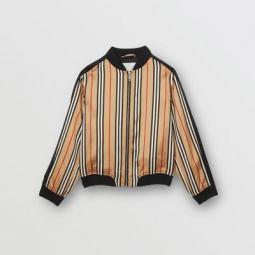Icon Stripe Satin Bomber Jacket