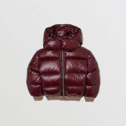 Icon Stripe Detail Hooded Puffer Jacket