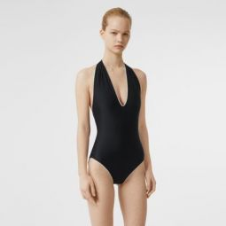 Piping Detail Halterneck Swimsuit