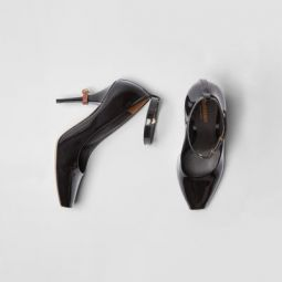 D-ring Detail Patent Leather Peep-toe Pumps