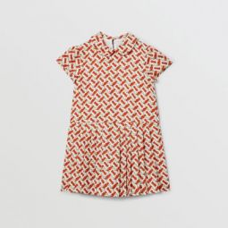 Peter Pan Collar Monogram Print Silk Dress