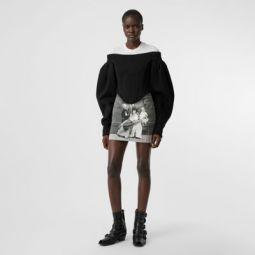 Victorian Portrait Print Stretch Denim Mini Skirt