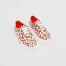 Monogram Print Cotton Gabardine Sneakers
