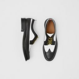 Brogue Detail Two-tone Leather Derby Shoes