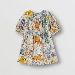 Constellation Print Cotton Poplin Dress