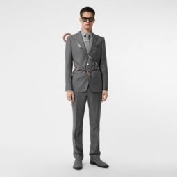 Classic Fit Metal Button Wool Tailored Trousers