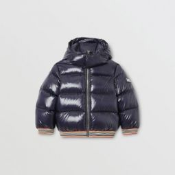 Icon Stripe Detail Down-filled Hooded Puffer Jacket