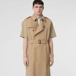 Sleeveless Cotton Gabardine Trench Coat