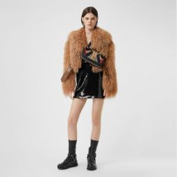Shearling and Embossed Leather Biker Jacket