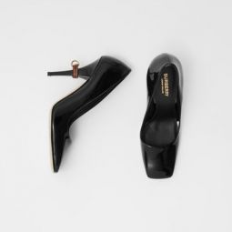 D-ring Detail Patent Leather Square-toe Pumps