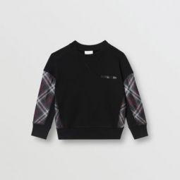 Vintage Check Panel Cotton Sweatshirt
