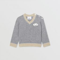 Thomas Bear Detail Wool Cashmere Sweater