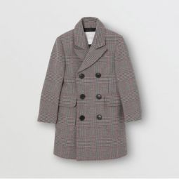 Prince of Wales Check Wool Cotton Blend Coat