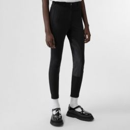 Lambskin Panel Stretch Crepe Jersey Trousers