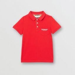 Icon Stripe Placket Cotton Pique Polo Shirt