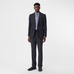 Classic Fit Pinstriped Wool Tailored Trousers