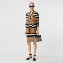 Icon Stripe Merino Wool Pencil Skirt