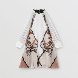 Long-sleeve Unicorn Print Pleated Dress