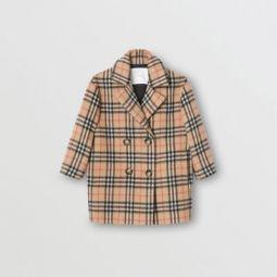 Vintage Check Alpaca Wool Blend Pea Coat
