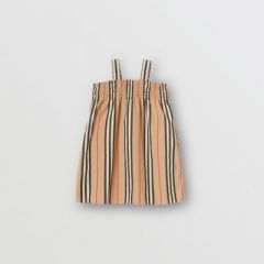 Smocked Icon Stripe Cotton Dress