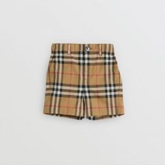 Vintage Check Cotton Tailored Shorts