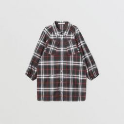 Vintage Check Cotton Shirt Dress