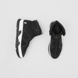 Mesh and Nubuck Union High-top Sneakers