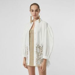 Macrame Lace Panel Cotton Oxford Oversized Shirt