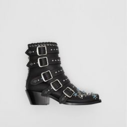 Buckled Embellished Leather Peep-toe Ankle Boots