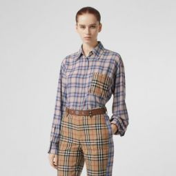 Vintage Check Panel Check Voile Shirt