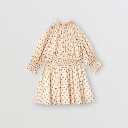 Star Print Gathered Cotton Dress