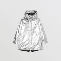 Detachable Hood Metallic Nylon Parka