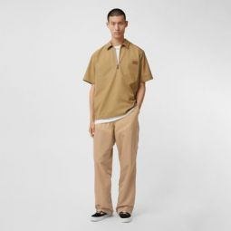 Nylon Panel Cotton Blend Wide-leg Trousers