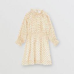 Star Print Gathered Cotton Dress