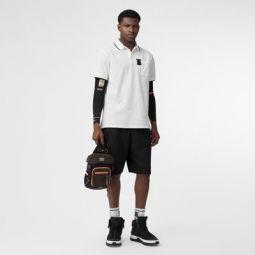 Monogram Motif Tipped Cotton Pique Polo Shirt