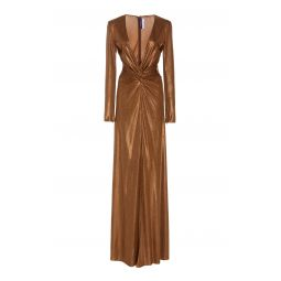 Knotted Metallic Lame Gown