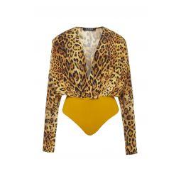 Leopard-Print Silk-Crepe Bodysuit