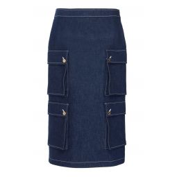 Contrast-Stitched Cargo Denim Skirt