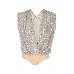 Draped Sequin-Charmeuse Bodysuit