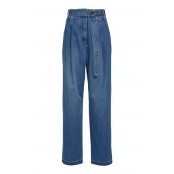Vintage Stone Denim Pleated Pants