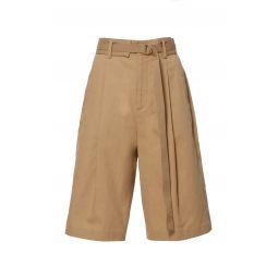 Belted Cotton-Blend Bermuda Shorts