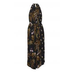 Mixed Tropical Garden Printed Crepe Dress