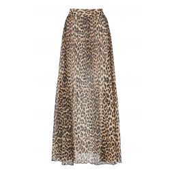 Georgette Pleated Leopard Maxi Skirt