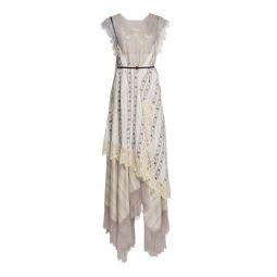 Printed Lace-Trimmed Silk Midi Slip Dress