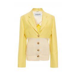 Cotton-Silk Ribbed-Knit-Paneled Blazer